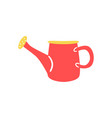 red plastic watering can in flat style - cute vector image vector image