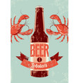 retro grunge beer poster with lobsters vector image vector image