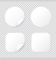 round and square sticker with bent corner white vector image