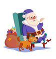 santa claus sitting on chair funny dog vector image vector image