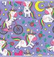 seamless pattern with cheerful little unicorns vector image
