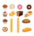 set of bread food vector image vector image