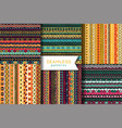set of seamless pattern boho style ethnic vector image vector image