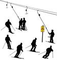 ski lift skiers vector image vector image