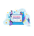 social media strategy cartoon people with notebook vector image vector image