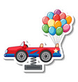 sticker template with a car and many balloons vector image vector image