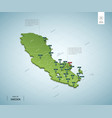 stylized map sweden isometric 3d green map vector image