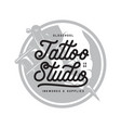 tattoo studio typography emblem vintage vector image vector image