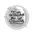 tattoo studio typography emblem vintage vector image