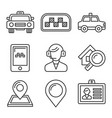 taxi icons set on white background line style vector image