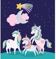 unicorns adorable shooting star moon and cloud vector image vector image