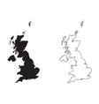 united kingdom great britain country map black vector image