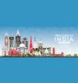 welcome to india city skyline with color vector image vector image