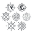 wind rose ship anchor and helm in retro style vector image