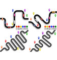 set of winding roads with signs movement of vector image