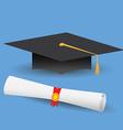 Flat design modern of graduation cap and diploma vector image