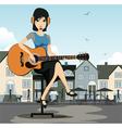 Woman guitarist vector image