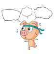 A pig exercising with empty callouts vector image vector image