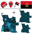 Angola map with named divisions vector image vector image