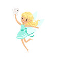 beautiful sweet blonde tooth fairy girl flying and vector image vector image