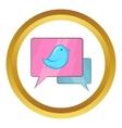 Bird on a speech bubble icon vector image