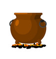 boiler is on charcoal pot isolated big cauldron vector image vector image