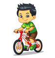 boy riding new red bicycle vector image vector image