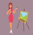 brunette girl artist draws a landscape vector image vector image
