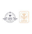 coffee house labels design with branch vector image