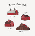 collection common barn style hand draw sketch vector image vector image