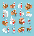 cooking isometric icons set vector image vector image