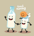 cute and funny cookie and milk vector image vector image