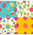 eggs and flowers easter seamless patterns spring vector image vector image