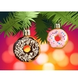 festive background with donuts - decorations vector image