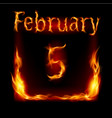 fifth february in calendar of fire icon on black vector image vector image