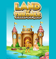 font design for word land thrones with king vector image