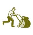 Gardener Landscaper Pushing Lawn Roller Retro vector image vector image