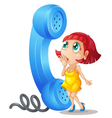 Girl and phone receiver vector image vector image