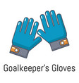 goalkeeper gloves icon cartoon style vector image