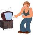 Happy cartoon man standing near TV vector image vector image