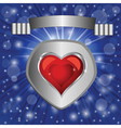 heart on blue background vector image vector image