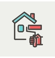 House painting using paint roller thin line icon vector image