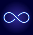 infinity sign from glowing blue neon line vector image