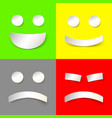 joyful and evil smiles in paper style vector image vector image