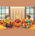 kids carving pumpkins vector image vector image