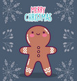 merry christmas celebration gingerbread man vector image