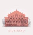 outline stuttgart skyline with landmarks vector image vector image