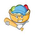 playing baseball fruit tart character cartoon vector image