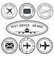 postmarks with airplane and envelope symbols vector image vector image