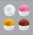 real ice cream scoops in white cups of chocolate vector image vector image